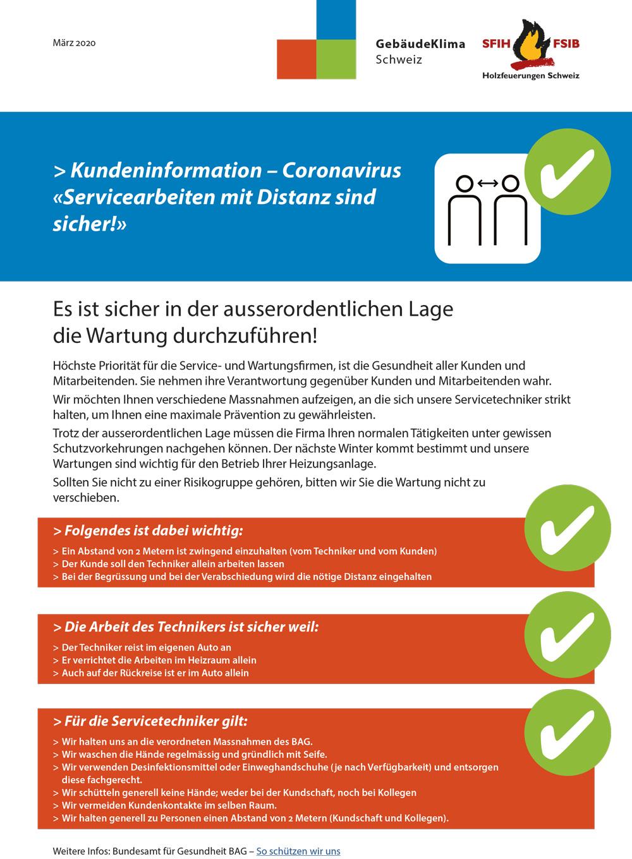 Kundeninformation Coronavirus